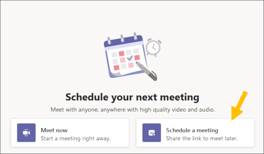 Select Schedule a meeting button