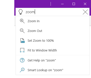 Screenshot of the Tell Me help system in OneNote