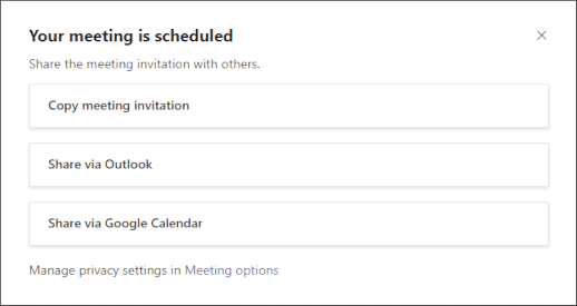 Your meeting is scheduled screen