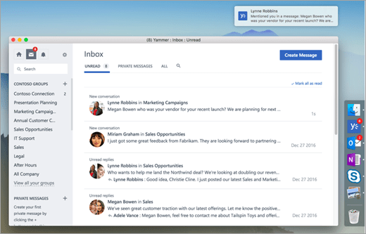 Yammer For Windows And Mac Office 365