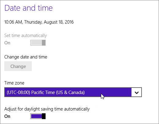 A screenshot showing the Date and Time menu in Windows 8. www.office.com/setup