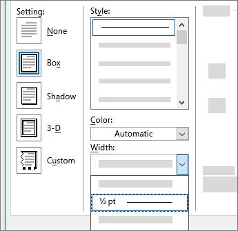 Page border settings