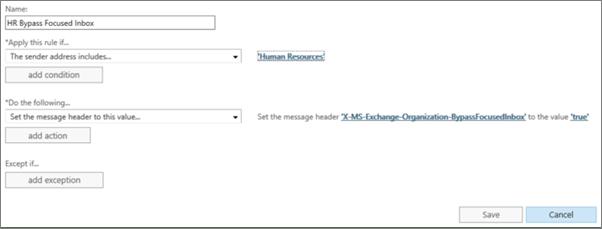 Screenshot: Create and save new Foucsed Inbox rule