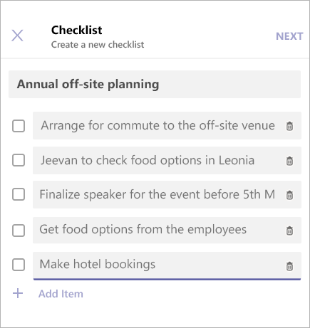 Adding Items to a Checklist in Microsoft Teams