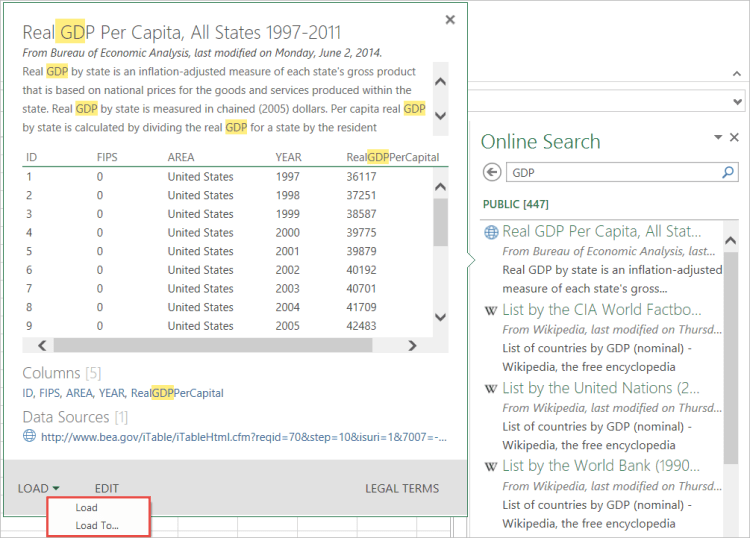 Using Search results for loading queries into your workbook