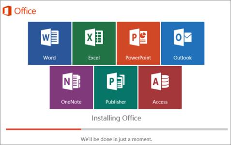Window showing progression of Office install