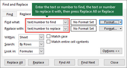 Press Ctrl+H to launch the Replace dialog.