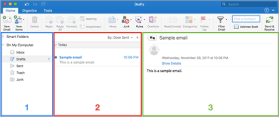 A diagram of the text display size options in Outlook