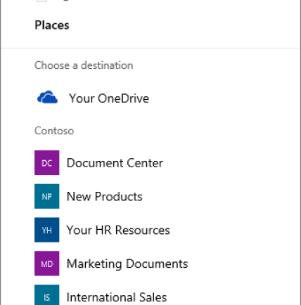 Screenshot of the Choosing a destination when copying a files from OneDrive for Business to a SharePoint site.