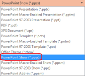 "The list of file types in PowerPoint includes ""PowerPoint Show (.ppsx)"""