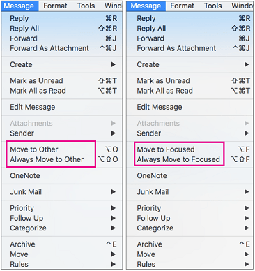 THe two choices on the Move to Focused menu are Move to Focused and Always Move to Focused