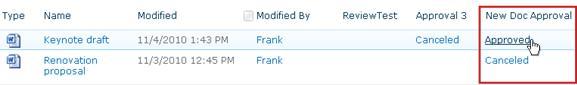 Clicking workflow status