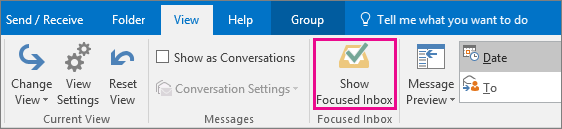 Show Focused Inbox button on View tab