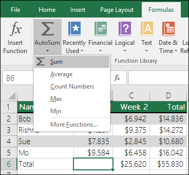 You can use the AutoSum Wizard to automatically build a Sum formula. Select a range above/beneath or left/right of the range to be summed and goto the Formula tab on the Ribbon, then select AutoSum & SUM.