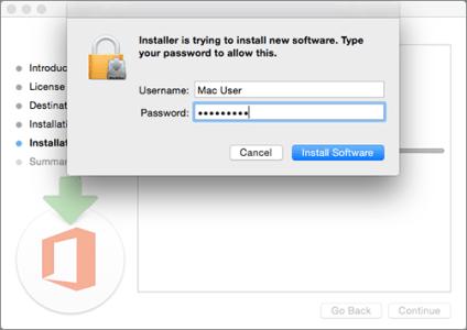 Inserire la password di amministratore per avviare l'installazione