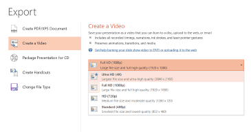 Screenshot of the Export dialog box showing the options available when creating a video based on a presentation