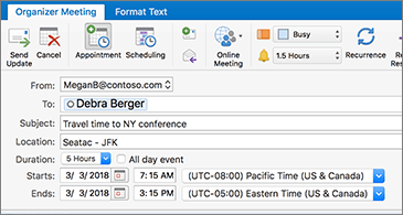 Meeting invite showing two different time zones