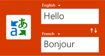 Translator button, and one word in English and its translation in French