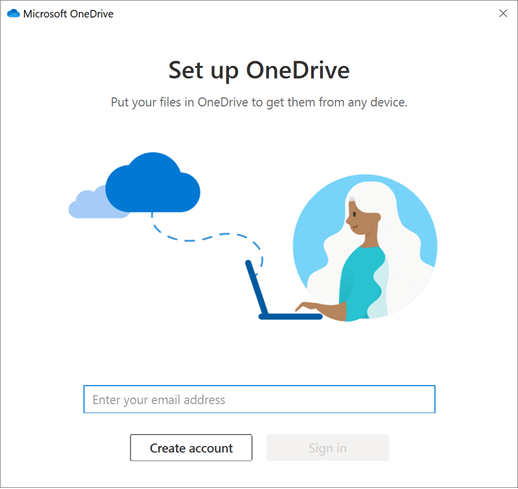 Screenshot of the first screen of OneDrive Setup