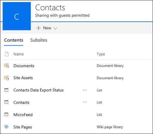 SharePoint subsite page containing lists from exported Access web app