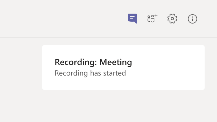 Meeting recording notification in meeting chat