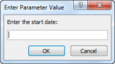 """Parameter prompt with the text """"Enter the start date:"""""""