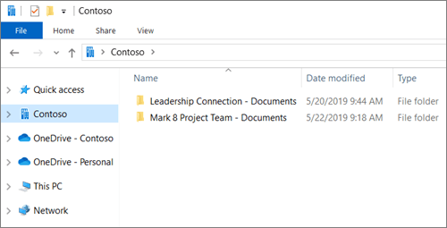 Screenshot showing sync folders for OneDrive and sites.