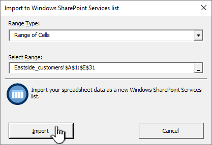 Import to spreadsheet dialog with Import highlighted