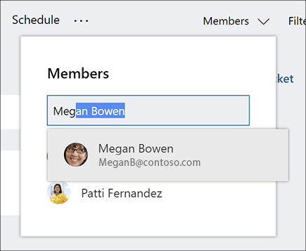 Screenshot of the Members list when entering the name of a new plan member.