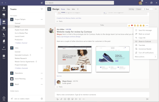 Share a channel conversation to Outlook