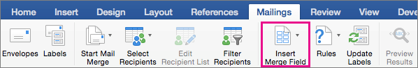 On the Mailings tab, Insert Merge Field is highlighted