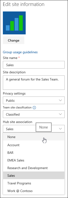 Disassociate a site from a SharePoint hub site