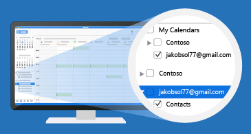 Inbox with a zoomed view of the Calendars list