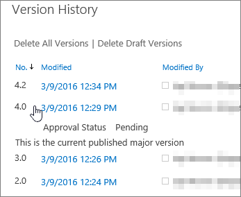Version history with one minor version deleted