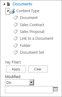 You can set up metadata navigation for a tree control in the left-hand panel