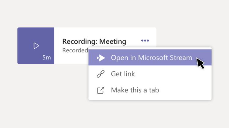 Open recording in Microsoft Stream option