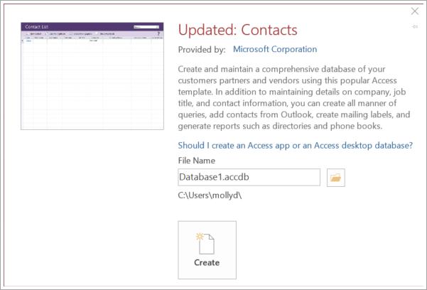 Screenshot of Contact list interface
