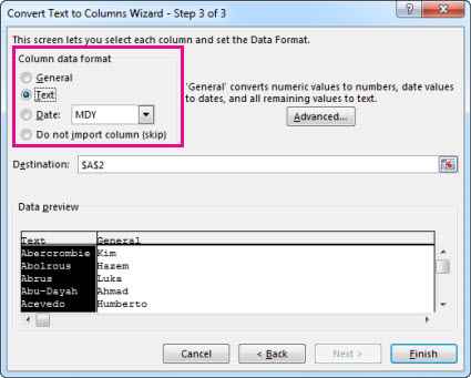Step 3 in the Convert Text to Columns Wizard