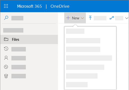 Screenshot of selecting the New menu to create a new document in OneDrive for Business