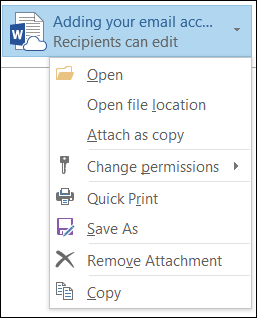 Choose permissions for an attachment