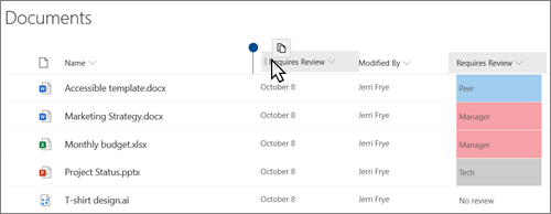 A document library in the modern SharePoint Online view, showing a column being dragged from one position to another