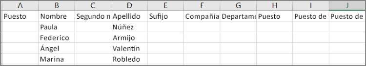 Ejemplo del aspecto de un archivo csv después de exportar contactos desde Outlook