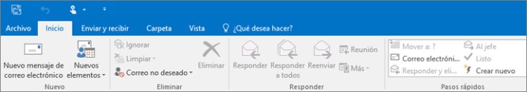 Este es el aspecto de la cinta en Outlook 2016.