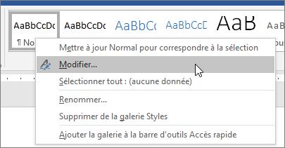Cliquez avec le bouton droit sur le style normal, puis sélectionnez Modifier.