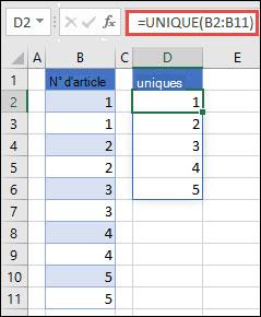 Exemple d'utilisation de = UNIQUE (B2: B11) pour renvoyer une liste unique de nombres