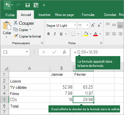 Exemple de formule simple