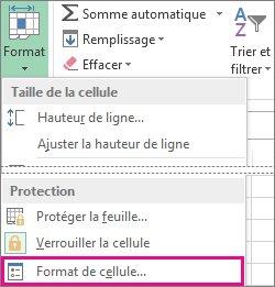Sous l'onglet Accueil, bouton Format, et bouton Format de cellule dans le menu