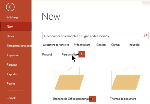 Sous Fichier > Nouveau, cliquez sur Modèles Office personnalisés, puis sur Modèles Office personnalisés.