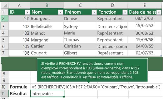 Exemple d'utilisation de la fonction RECHERCHEV3