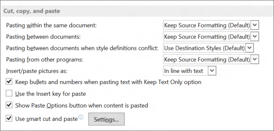 Word 2013 options couper, copier et coller